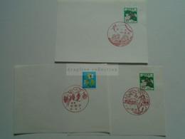 AV653.8  Lot Of 3  Japan Commemorative Postmark, Ca 1980  SKI  Winter Sport -Scenic Handstamps - Lettres & Documents