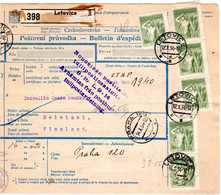 Tschechoslowakei 1954, 28 Marken Auf Paketkarte V. LETOVICE N. Finnland - Briefe U. Dokumente