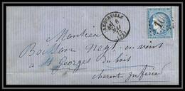 0734- Angerville Essonne Cérès N° 60 T1 GC 1010 St Georges Du Bois 6/5/1872 LAC Lettre Cover France - 1849-1876: Periodo Classico