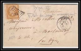 0922 Dijon Bourgogne Cote-d'Or Napoleon N°13 Pc 1102 T2 LAC Lettre Cover France - 1801-1848: Precursori XIX