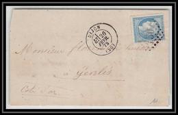 0992 Bourgogne Cote-d'Or Cérès N° 60 T1 GC 3307 Dijon 26/2/1872 Pour Genlis LAC Lettre Cover France - 1849-1876: Periodo Classico