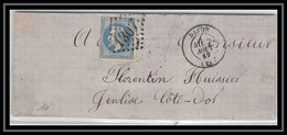 1004 Bourgogne Cote-d'Or Napoleon N°29 T2 GC 1307 Dijon Pour Genlis 2/8/1869 LSC Lettre Cover France - 1849-1876: Periodo Classico