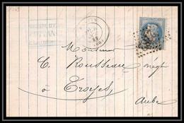 1150 Île-de-France Napoleon N°29 T1 Gc 2782 Pantin 6/10/1869 Pour Toyes Aube LAC Lettre Cover France - 1849-1876: Periodo Classico
