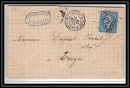 1509 Rhone Napoléon N°22 Gc 4745 Villefranche-sur-Saône Pour Troyes 19/10/1865 LAC Lettre Cover France - 1849-1876: Periodo Classico