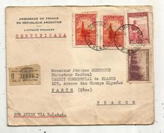 Lettre , Republica Argentina , BUENOS AIRES 58 ,1947, Ambassade De France ,CERTIFICADA ,R Suc. 12 (PUEYRREDON) - Briefe U. Dokumente