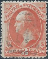 Stati Uniti D'america,United States,U.S.A, 1873 George Washington , Revenue Stamp Department.of The Interior,3c-Used - Service