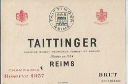 F15 Cpa / Label Wine / Rare ETIQUETTE NEUVE CHAMPAGNE TAITTINGER Reims RESERVE 1937 Brut - Champan