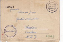 CROATIA, VARAZDIN   --  NDH   --  1944  --  FELDPOST MIT ZENSUR  --  13. MARINE ERLASS  ABTEILUNG  --  MATROSE, MORNAR - Croatia