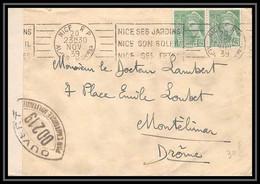 3711 Lettre France Guerre 1939/1945 Censure Mercure Nice Pour Montelimar Drome 1939 - Guerra De 1939-45
