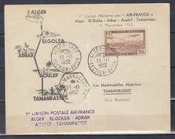 Brief Van Alger-Gare Naar Tamanrasset 1re Liaison Postale Air-France Alger El-Golea Adrar - Briefe U. Dokumente
