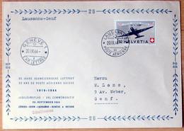 Schweiz Suisse 1944: PRO AERO Douglas DC3 Zu 40 Mi 438 Yv PA39 GROSS-Brief O LAUSANNE 20.IX.44 > GENÈVE (Zu CHF 32.50) - Erst- U. Sonderflugbriefe