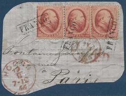 Pays Bas Fragment N°5 10c Rose Carminé Bande De 3 Oblitéré Letterbox Franco Pour Paris TTB - Used Stamps