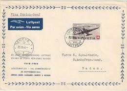 Schweiz Suisse 1944: PRO AERO Douglas DC3 Zu 40 Mi 438 Yv PA39 GROSS-Brief O ZÜRICH 20.IX.44 > GENÈVE  (Zu CHF 32.50) - Erst- U. Sonderflugbriefe