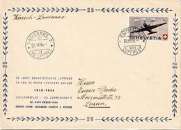 Schweiz Suisse 1944: PRO AERO Douglas DC3 Zu 40 Mi 438 Yv PA39 GROSS-Brief O ZÜRICH 20.IX.44 > LAUSANNE (Zu CHF 32.50) - Erst- U. Sonderflugbriefe