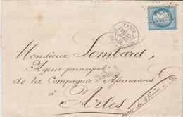 Yvert 60A Variété 93 Lettre Cachet PARIS P Bourse étoile 1 Du 26/4/1873 à Arles - 1849-1876: Klassik