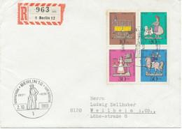 BERLIN 1969 Wohlfahrt Zinnfigurenkompletter Satz Pra.-FDC Seltene Portogerecht - Cartas