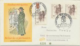 BERLIN 1969, Berliner Des 19. Jahrhunderts 10 Pf (3x) Zeitungsverkäufer; MeF FDC - Cartas