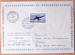 Schweiz Suisse 1944: PRO AERO Douglas DC3 Zu 40 Mi 438 Yv PA39 GROSS-Brief O GENÈVE 20.IX.44 > LAUSANNE (Zu CHF 32.50) - Erst- U. Sonderflugbriefe