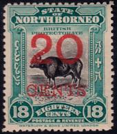 ✔️ North Borneo 1909 - Banteng Fauna Overprint - Mi. 138 * MH  - €10 - Nordborneo (...-1963)
