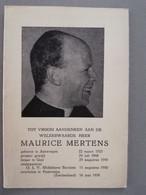 Bidprentje EH Mertens Maurice ° Antwerpen 1925 Overl 1958 Leraar Te Geel 1948 Onderpastoor Berchem OLV Middelares - Todesanzeige