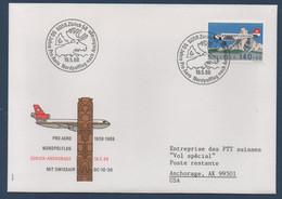 CH 1988 50ème Anniversaire Pro Aero 19/05/88 : Vol Spécial Zürich-Anchorage En DC10 - Erst- U. Sonderflugbriefe