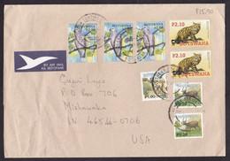Botswana: Airmail Cover To USA, 2007, 8 Stamps, Wild Cat, Pigeon Bird, Deer, WWF Panda Logo, Air Label (creases) - Botswana (1966-...)