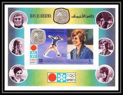 115 - Ras Al Khaima MNH ** Bloc N° 130 B Skating Schuba Austria Non Dentelé (imperf) Jeux Olympiques (olympic Games) 72 - Winter 1972: Sapporo