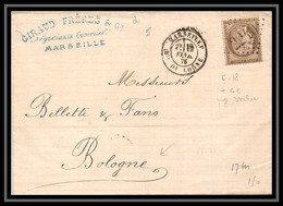 116682 Lsc Lettre Cover Bouches Du Rhone Cachet Bes N°57 Cérès Marseille Pour Bologna Italie (italy) 1876 - 1849-1876: Klassieke Periode
