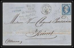 Lettre-110099-LAC Bouches Du Rhone Marseille Napoléon N°22 Pc 1896 Pour Reims 1862 Convoyeur Lyon Paris 4ème Arrondissem - 1849-1876: Classic Period