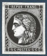 France Bordeaux N°42, 5c Report 2 (case 1) Essai En Noir Sur Papier Glaçé Pas Si Courant TTB - 1870 Bordeaux Printing