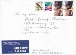 United States PAR AVION 19B April 1997 Label TRENTON 2000 Cover Brief Denmark Flag Bird Vogel Oiseau 2x Breast Cancer - Cartas