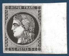 France Bordeaux N°42 BDFeuille, 5c Report 2 (case 10) Essai En Noir Sur Papier Glaçé R Ainsi Signé Calves - 1870 Bordeaux Printing