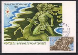 """Monaco 1983 Carte Maximum Neuve  CROIX ROUGE MONEGASQUE  LES TRAVAUX D'HERCULE """"Hercule Et La Biche Du Mont Cérynée"""" - Maximum Cards"""