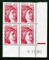 France 2122 GT Sabine Bloc De 4 Coin Datés 6 11 1980 Neuf**  TB MNH Sin Charnela - 1980-1989