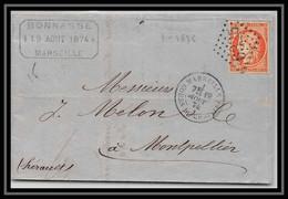 109619 Lac Lettre Bouches Du Rhone 38 Cérès Filet Droit Absent 1874 Marseille Cours Du Chapitre A1 Montpellier Herault G - 1849-1876: Klassieke Periode