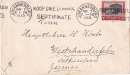 AFRIQUE DU SUD 1930 LETTRE DE JOHANNESBURG - Briefe U. Dokumente