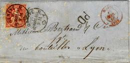 1866- Lettre De GENEVE Pour Lyon - Affr. N° 33 Zumstein  Entrée SUISSE / LYON Rouge - Briefe U. Dokumente