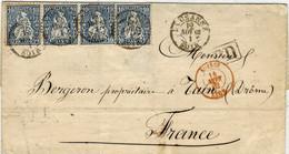 1862 - Lettre De LAUSANNE Pour La France  Affr. N°31 X 4 ( Dont Bande De 3 ) Entrée Suisse / Lyon - Briefe U. Dokumente