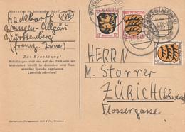 Allemagne Zone Française Entier Postal Wangen Pour La Suisse 1946 - Zona Francesa