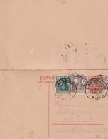 1919 - GERMANIA - CARTE Avec REPONSE PAYEE De LANGENGRASSAU Bz. HALLE - Postwaardestukken