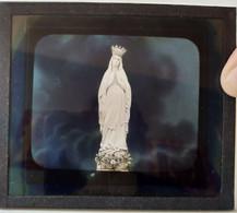 Plaque De Verre LANTERNE MAGIQUE  - Madone Blanche -  - Superbe ! TBE - Glass Slides