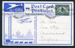 1937 South Africa (1936) Empire Exhibition Johannesburg Airmail Postcard. Last Day Machine Cancel - Briefe U. Dokumente