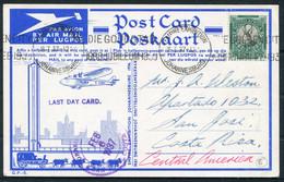 1937 South Africa (1936) Empire Exhibition Johannesburg Airmail Postcard. Last Day Machine Cancel - San Jose, Costa Rica - Briefe U. Dokumente