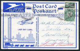 1937 South Africa (1936) Empire Exhibition Johannesburg Airmail Postcard. Air Station, Rand Airport - Montevideo Uruguay - Briefe U. Dokumente