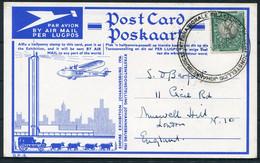 South Africa (1936) Empire Exhibition Johannesburg Airmail Postcard. Philatelic Exhibition - Briefe U. Dokumente