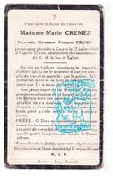 DP Marie Cremer ° 1871 † Gouvy 1943 X François Cremer - Andachtsbilder