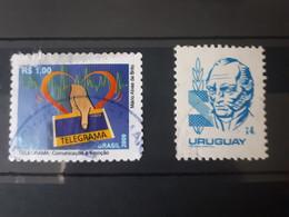 Lot De 2 Timbres Brésil Et Uruguay - Otros - América