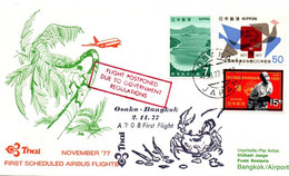 Osaka Bangkok 1977 - Airbus A-300 Thai - First Flight 1er Vol Erstflug - Crabe - Covers & Documents