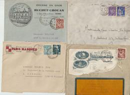 LOT De  10   ENVELOPPES  TIMBRES    De FRANCE  - 1943-1945-1947... - Briefe U. Dokumente