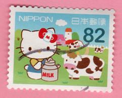 2015 GIAPPONE Gatti Mucca Milk  Hello Kitty Regional Issue - Hokkaido - 82 Yen Usato - Gebruikt